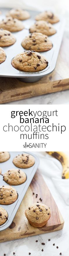 These Greek Yogurt Banana Muffins are a simple and healthy on-the-go snack or breakfast. Made with chocolate chips for a little bit of extra sweetness! | slimsanity.com