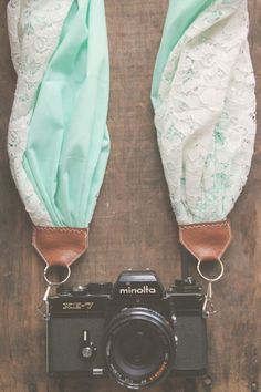 Scarf Camera Strap in Turquoise & Lace by AnnabellsWorkshop