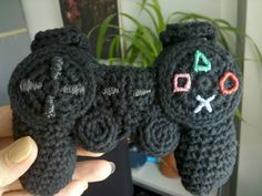 PlayStation controller crocheted baby rattle