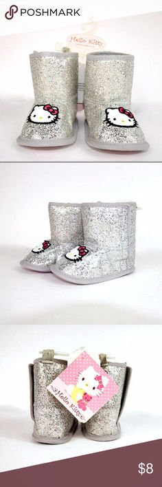 Hello Kitty Size 2 6-9 Mo. Silver Boots Hello Kitty Size 2 6-9 Mo. Silver Boots. I try to make all, if any, flaws or blemishes visible in photos. Let me know if you have any questions! Hello Kitty Shoes Boots