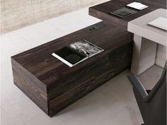JERA 13 Chefbüro Schreibtisch Mit Modernem Winkel Serviceboard, Push Pull  Schubladen, Holz Esche Braun
