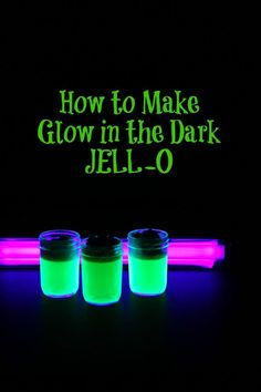 How to Make Glow in the Dark JELL-O ~ fun science project and a super fun Halloween treat. Pick up a black light or black light bulb at your local Halloween shop to show off it's glow! Diy Projects For Teens, Cool Diy Projects, Crafts For Teens, Teen Crafts, Children Crafts, Jelly Shots, Fun Halloween Treats, Halloween Party, Spooky Halloween