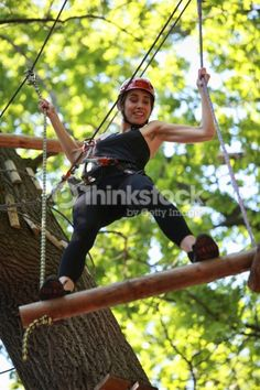 Stock Photo : attractive woman climbing in adventure rope park Park Photos, Transform Your Life, Climbing, Action, Stock Photos, Activities, Adventure, Mountain, Image
