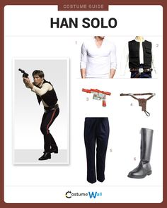 Dress Like Han Solo from the movie, Star Wars. See additional costumes and cosplays of Han Solo.