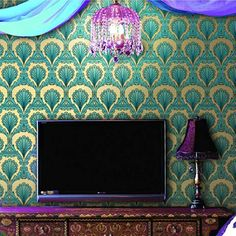 Modern Luxury KTV Hotel TV Sofa Background Home Wall Paper Gold Foil Peacock Feather Fireproof Moisture-Proof Wallpaper Mural Peacock Wallpaper, Cheap Wallpaper, Gold Wallpaper, Wallpaper Roll, Wallpaper Suppliers, Bar, Modern Luxury, Gold Foil, Architecture Design