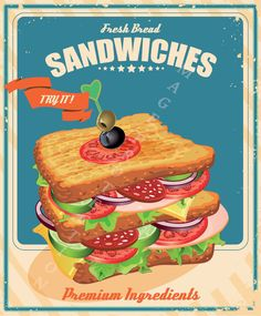 Fresh Bread Sandwiches Metal Tin Sign Poster Wall Plaque & Garden Fresh bread sandwich sheet metal shield Poster Wall Plaque home & Garden Sandwich Bar, Roast Beef Sandwich, Picnic Sandwiches, Sandwich Ideas, Vintage Advertisements, Vintage Ads, Vintage Style, Vintage Signs, Retro Style