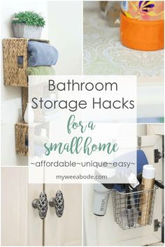 Affordable and creative bathroom storage can be a challenge. This post offers unique bathroom storage ideas that are also pretty! Great bathroom inspiration and solutions that are pretty practical and perfect for a small home, apartment, or rental space. Bathroom Storage Solutions, Small Bathroom Storage, Bathroom Organization, Small Bathrooms, Farmhouse Bathrooms, Organization Hacks, Modern Farmhouse, Farmhouse Style, Bad Inspiration