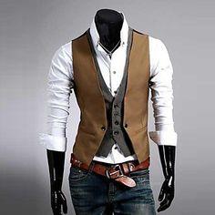 mannen premium gelaagde stijl slanke vest 2015 – $19.45