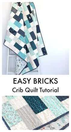 Bricks Baby Quilt Tutorial | quilting | Diary of a Quilter Baby Quilt Tutorials, Quilting Tutorials, Quilting Projects, Quilting Designs, Sewing Projects, Sewing Tips, Baby Quilts Easy, Baby Boy Quilts, Owl Quilts