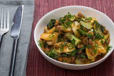 "Korean Tteok & Spicy Pork ""Ragù"" with Baby Bok Choy (PM- make for matt.  worth tracking down the ingredients)"