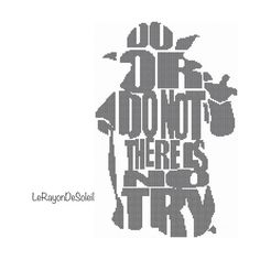 Modern cross stitch pattern Yoda Star Wars quote silhouette Do or don't there is no try - PDF Instant download