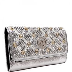 NX Signature Collection Blinged Out Rhinestone Trifold Wallet with Removable Checkbook Cover