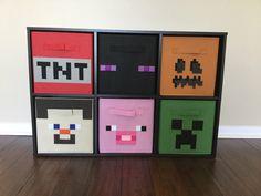 Minecraft Storage Bin Set of THREE, Storage Cube, Boys Bedroom, Toy Storage, Playroom, Kids Storage, Video Game Storage, Minecraft Room by SewFreakinAwesome on Etsy https://www.etsy.com/listing/277577348/minecraft-storage-bin-set-of-three