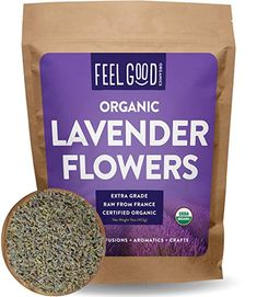 Organic Lavender Flowers (Extra Grade - Dried) - Resealable Bag - Raw From France - by Feel Good Organics Lavender Lemonade, Lavender Tea, Lavender Buds, French Lavender, Lavender Extract, Lavender Crafts, Dried Lavender Flowers, Hibiscus Flowers, Exotic Flowers