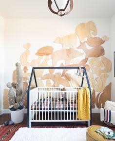 Baby Boy Nursery-Giant Stacked Animal Block Wall Treatment