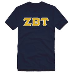 Campus Classics - Zeta Beta Tau Navy Sewn On Letters Tee: $24.95