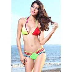 Color Block Triangle Push-up Sexy Bikini Swimwear Fashion, Bikini Fashion, Bikini Swimwear, Sexy Bikini, Bikinis, Triangle Swimwear, Bra Sized Swimsuits, Cheap Swimsuits, Plus Size Swimwear