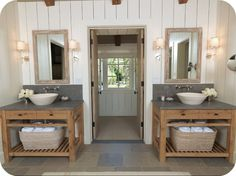 How can you not love this generously sized country bathroom with its wonderful double sinks?