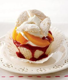 Peach melba cupcake recipe! OMG this could be deadly. Peach Melba is like my favoritest desert of all time!