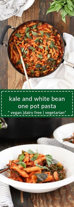 kale and white bean one pot pasta is healthy, fast, and easy. everything cooks in one pot, which means fewer dirty dishes. vegan/vegetarian/dairy free