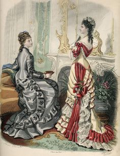 Fashion Illustrated 1876. like both, but love the layered ruffles on the right.