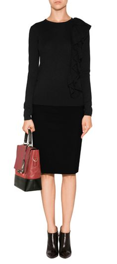 THE LOOK   Designer look with 'Side Ruffle Pullover in Black' by Steffen Schraut   Luxury fashion online   STYLEBOP.com