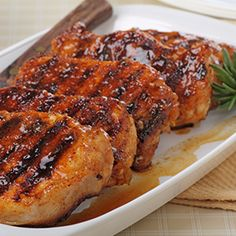 Moore's Amazing Grilled Pork Chops Ingredients ½ cup Moore's Original Marinade 2 tsp dried parsley 4 center loin pork chops 1 tsp dried minced onion 1 clove finely minced garlic 1 tsp adobo seasoning