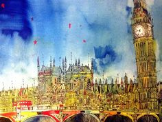 Christopher Tate Art - London Gallery | Christopher Tate Art | Cornish Artist Big Ben, London, Oil Paintings, Gallery, Illustration, Artist, Artwork, Travel, Work Of Art