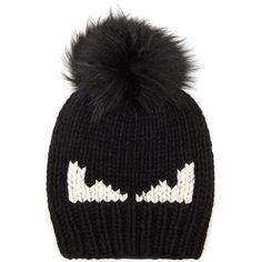 Fendi Bag Bugs fur-pompom wool hat (1.120 BRL) ❤ liked on Polyvore featuring men's fashion, men's accessories, men's hats, black, mens pom pom hat, mens fur hats and mens wool hats