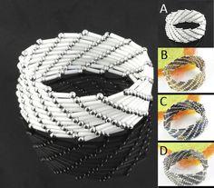 Handmade tube beads bracelet wide fashion jewelry elastic adjustable size