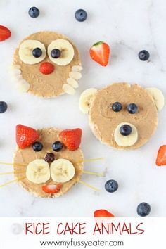 A fun and healthy snack for kids and toddlers made with rice cakes, peanut butter and fruit Cake Animals Rice Cake Animals! A fun and healthy snack for kids and toddlers made with rice cakes, peanut butter and fruit Healthy Meals For Kids, Healthy Snacks For Kids, Kids Meals, Healthy Recipes, Quick Meals, Healthy Cooking, Snacks Kids, Easy Cooking, Cooking Recipes