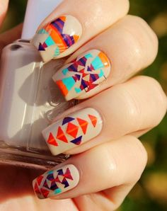 Christmas Vintage Aztec Tribal Nails, Tribal nails for girls,Christmas Aztec Tribal nails for 2013 Fall/Winter #christmas #nail #art www.loveitsomuch.com