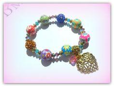 Rainbow Flower Heart Charm,Polymer Clay Shamballa Children's Bracelet £5.00