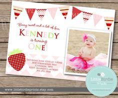 STRAWBERRY INVITATION Birthday Party Printable with photo, chevron, polka dot and stripe banner