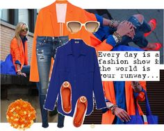 """""""orange + cobalt"""" by lcole1 ❤ liked on Polyvore"""