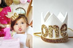 First Birthday Crown White and Gold Felt Crown Headband by Little Blue Olive
