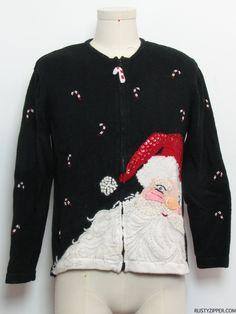 80s style -Tiara International- Womens black background cotton ramie blend zip front longsleeve Ugly Christmas Sweater, round neckline featu...