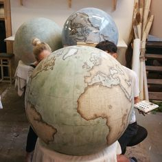 The 80cm Galileo in Mint Green. Bellerby & Co Globemakers. London, England. Handcrafted and hand painted terrestrial and celestial world globes. Photo by Jade Fenster.
