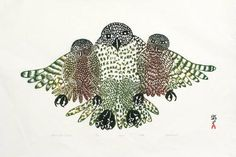 inuit print 1970's | ... Ashoona, Title: Mother Owl and Babies, 1970 - click for larger image