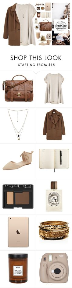 """Simple brown"" by clandestine-beauty ❤ liked on Polyvore featuring Proenza Schouler, Gathering Eye, Vanessa Bruno, Zimmermann, Zone, NARS Cosmetics, Diptyque, Amrita Singh, L:A Bruket and Fujifilm"