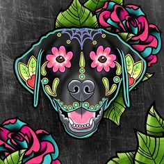 Labrador Retriever in Black- Day of the Dead Lab Sugar Skull Dog