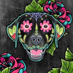 Labrador Retriever - Black Lab - Day of the Dead Sugar Skull Dog Art Print by prettyinink Dog Skull, Sugar Skull Cat, Sugar Skull Tattoos, Skull Art, Sugar Skulls, Dead Dog, Day Of The Dead Art, Or Mat, Arte Popular
