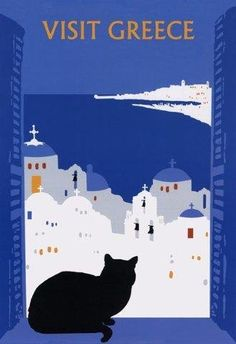 Visit Greece Charming Black Cat Large Vintage Travel Poster Repro Free s H Posters Decor, Old Posters, Beach Posters, Retro Poster, Poster S, Poster Prints, Charles Rennie Mackintosh, Kunst Poster, Travel Illustration