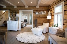 Attic Design, Interior Design, Wooden Cabins, Cabin Interiors, House In The Woods, Log Homes, Mid-century Modern, Building A House, Sweet Home