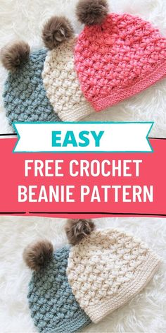 Try this easy free crochet puff stitch beanie with great texture. The hat comes in multiple sizes for baby, toddler, kids and woman. Crochet Hat Size Chart, Easy Crochet Hat, Crochet Beanie Pattern, Crochet Shawls And Wraps, Crochet Baby Hats, Crochet Slippers, Crochet Clothes, Free Crochet, Crochet Summer