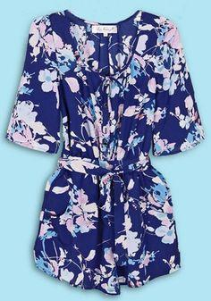 Blue Floral High Waist Loose Chiffon Jumpsuit