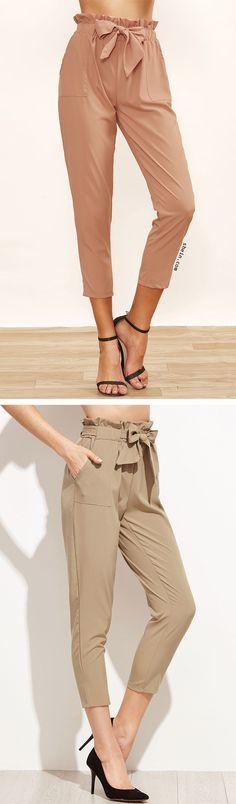 Ruffled Tie Waist Peg Leg Pants