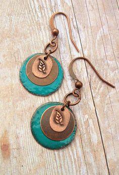 Leaf Earrings / Copper Disc Earrings / Blue Jewelry by Lammergeier, $22.00