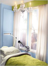 blue and white facial room