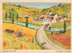Images de la Vie (19) – Le village et la moisson by Hélène Poirié